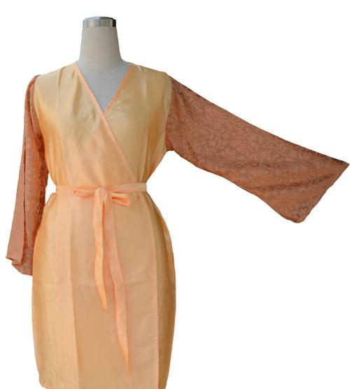 Light Peach Luxurious Silk Robe with Silk Chiffon Devore Sleeves