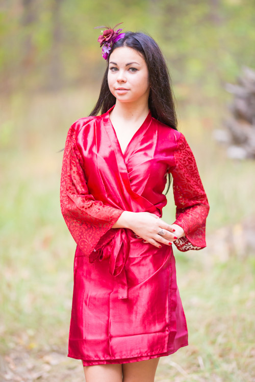 Maroon Luxurious Silk Robe with Silk Chiffon Devore Sleeves