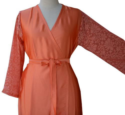 Peach Luxurious Silk Robe with Silk Chiffon Devore Sleeves