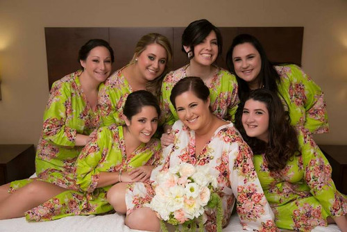 Green Robes for bridesmaids | Getting Ready Bridal Robes