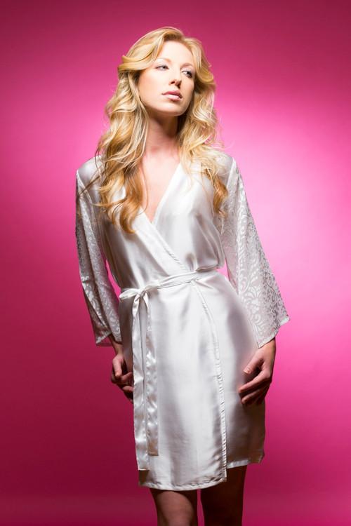 White Luxurious Silk Robe with Silk Chiffon Devore Sleeves