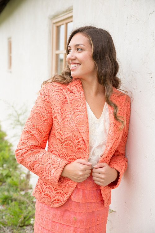 Charming Coral Bridesmaids Lace Suit for a Winter Wedding