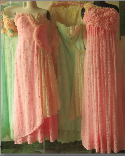 Dreamy Mint and Pink Wedding Palette Lace Bridesmaids Dresses