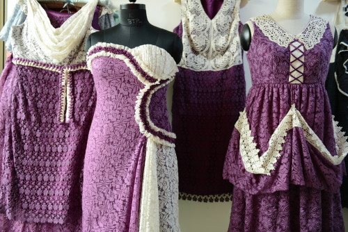 Dreamy Purple Haute Couture Wedding Palette Lace Bridesmaids Dresses