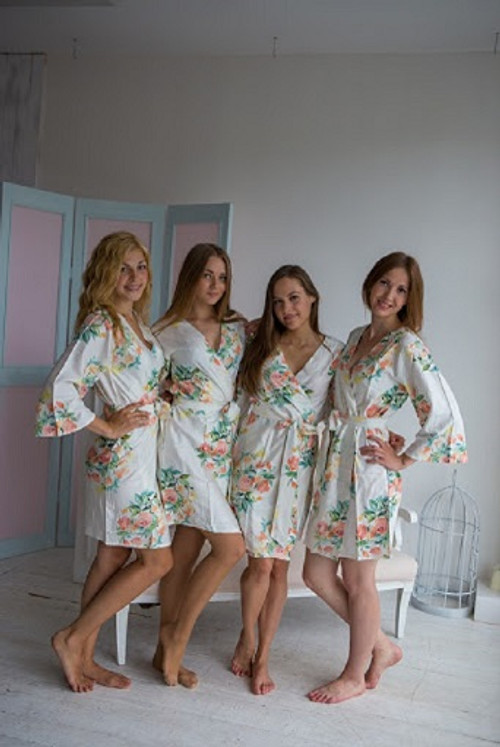 Dreamy Angel Song Pattern - Premium White Bridesmaids Robes