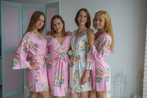 Dreamy Angel Song Pattern - Premium Pink Bridesmaids Robes