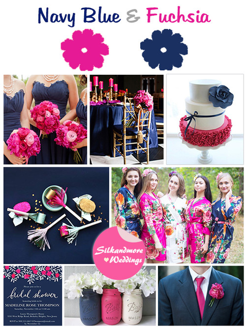 Navy Blue and Magenta Wedding Color Inspirtations
