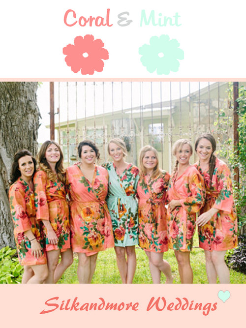 Coral & Mint Wedding Color Robes