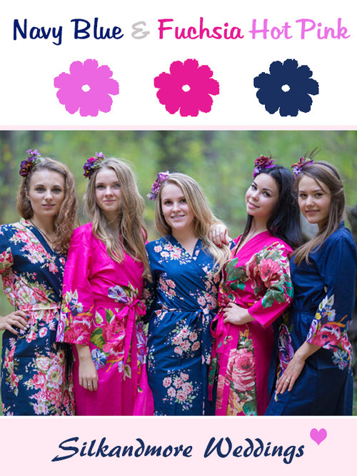 Navy Blue and Fuchsia Wedding Color Robes