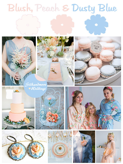 Dusty Blue, Peach and Blush Wedding Color Robes