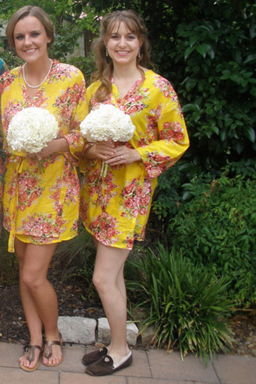 Yellow Floral Posy Robes for bridesmaids | Getting Ready Bridal Robes