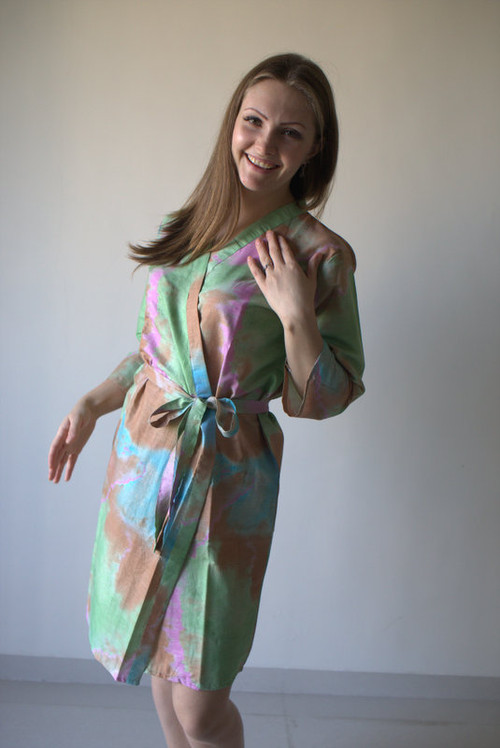 Mint Batik Watercolor Robes for bridesmaids | Getting Ready Bridal Robes