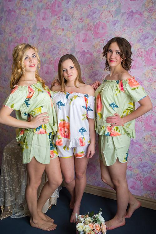 Off-Shoulder Style Long Pj Sets in Smiling Blooms Pattern