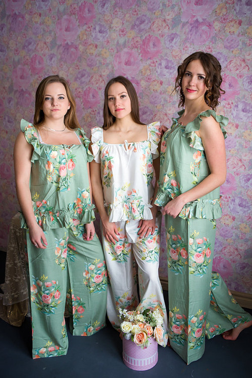 Ruffled Style PJs in Angel Song Pattern_long
