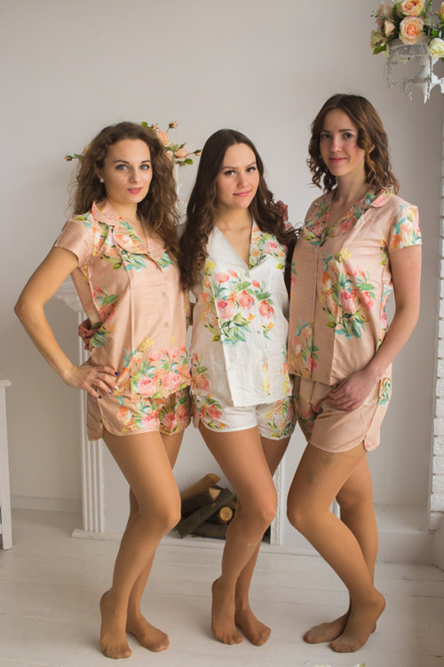 Notched Collar Style PJs in Angel Song Pattern
