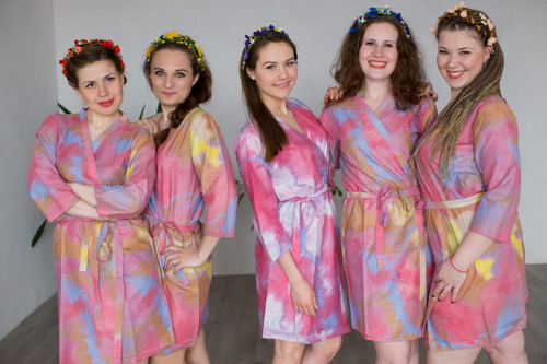 Raspberry Batik Watercolor Robes for bridesmaids | Getting Ready Bridal Robes