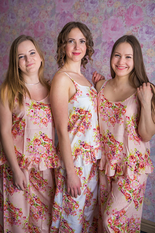 Frilly Style Pj Sets in Floral Posy Pattern_long