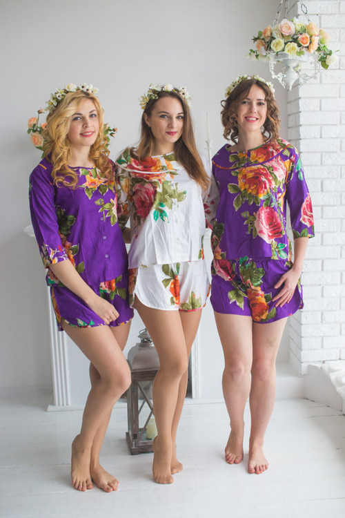 Boat Neckline Style PJs in Large Floral Blossom Pattern
