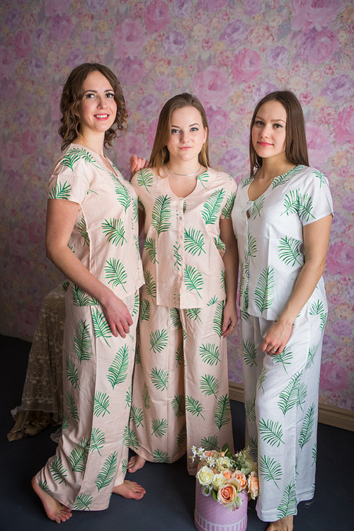 U-shaped neckline Style PJs in Tropical Delight Palm Leaves Pattern_long