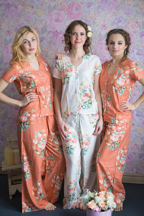 U-shaped neckline Style PJs in Angel Song Pattern_long