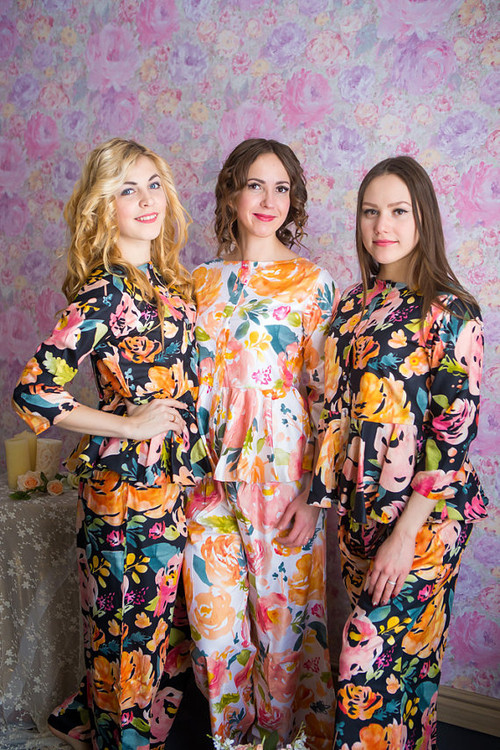 Peplum Style Long PJs in Her Petal Garden Pattern_long