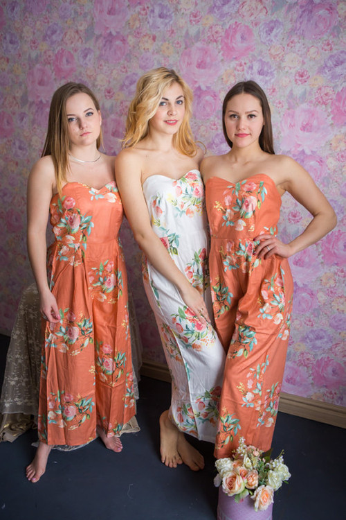 Rust color Strapless Style Bridesmaids Jumpsuit in Dreamy Angel Song Pattern