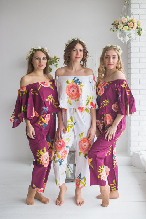 Cape Style Bridesmaids Jumpsuit in Smiling Blooms Pattern