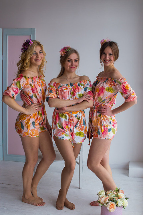 Off shoulder Style Bridesmaids Rompers in Her Petal Garden Pattern