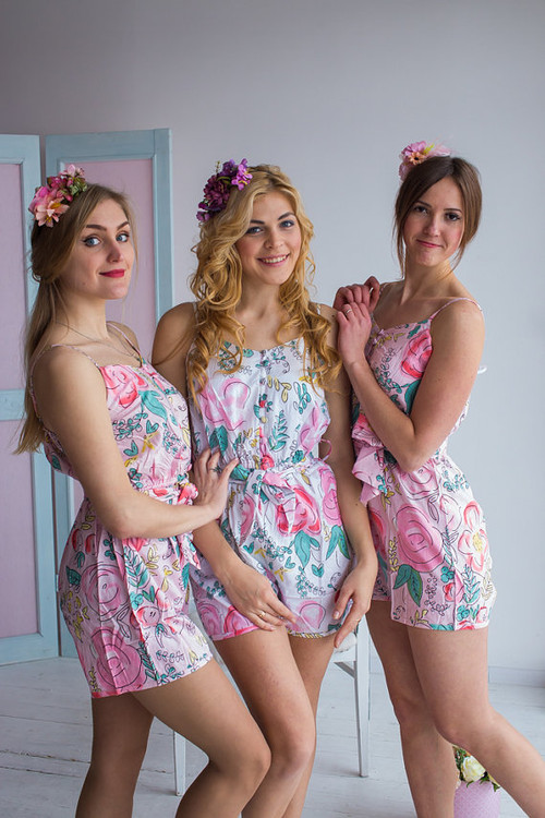 Belted Slip Style Bridesmaids Rompers in Whimsical Giggle Pattern