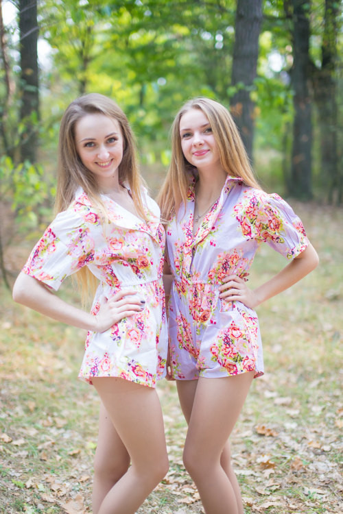 Short Sleeved Crossover Style Bridesmaids Rompers in Floral Posy Pattern