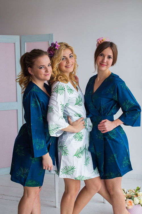 Tropical Delight Pattern- Premium Navy Blue Bridesmaids Robes