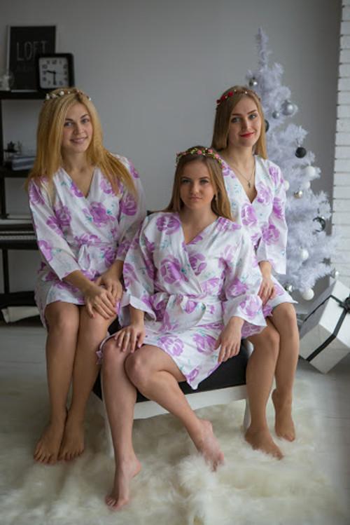 Blushing Flowers Pattern- Premium White Lilac Bridesmaids Robes
