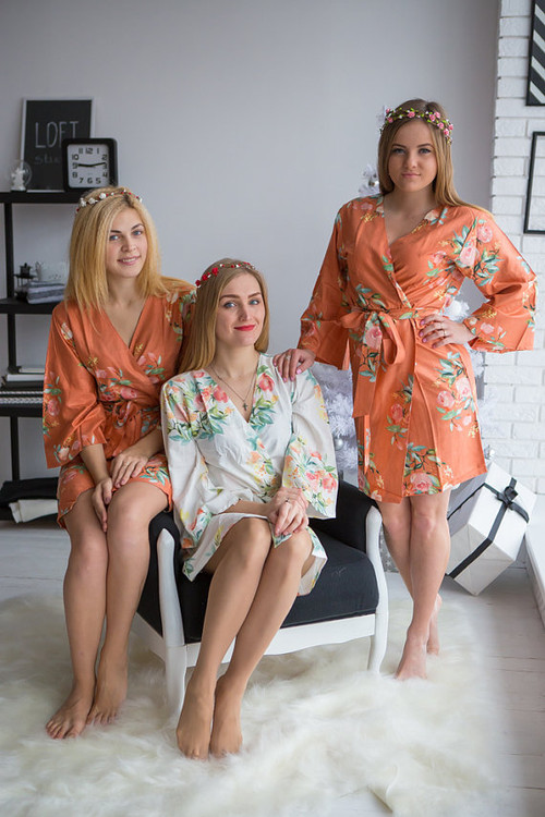 Dreamy Angel Song Pattern- Premium Rust Bridesmaids Robes