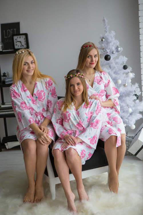 Blushing Flowers Pattern- Premium White Pink Bridesmaids Robes