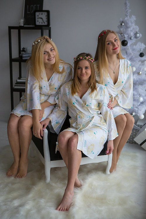 Blushing Flowers Pattern- Premium White Gold Bridesmaids Robes