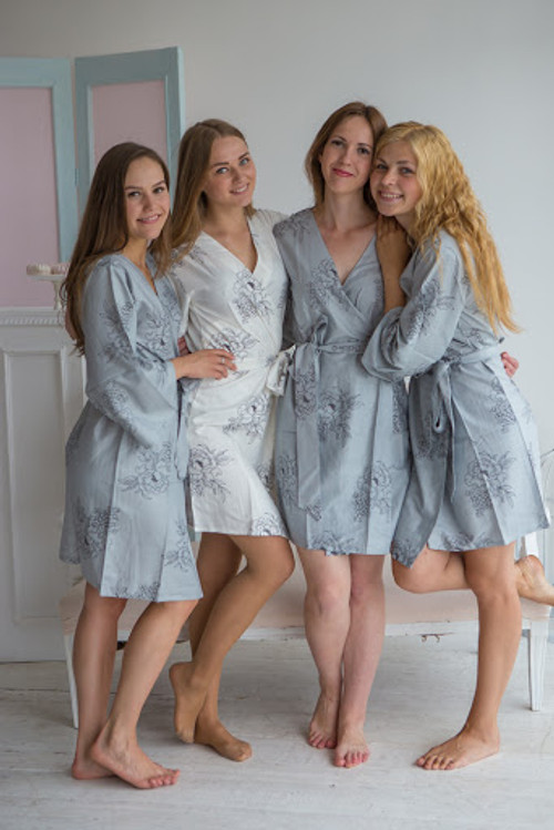 Floral Sketch Pattern- Premium Gray Bridesmaids Robes
