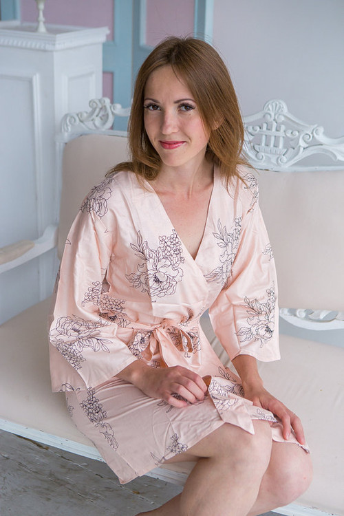 Floral Sketch Pattern- Premium Blush Bridesmaids Robes