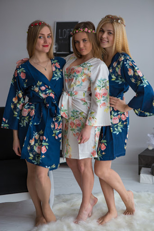 Dreamy Angel Song Pattern- Premium Navy Blue  Bridesmaids Robes