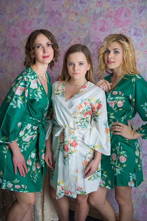 Dreamy Angel Song Pattern- Premium Emerald Green Bridesmaids Robes