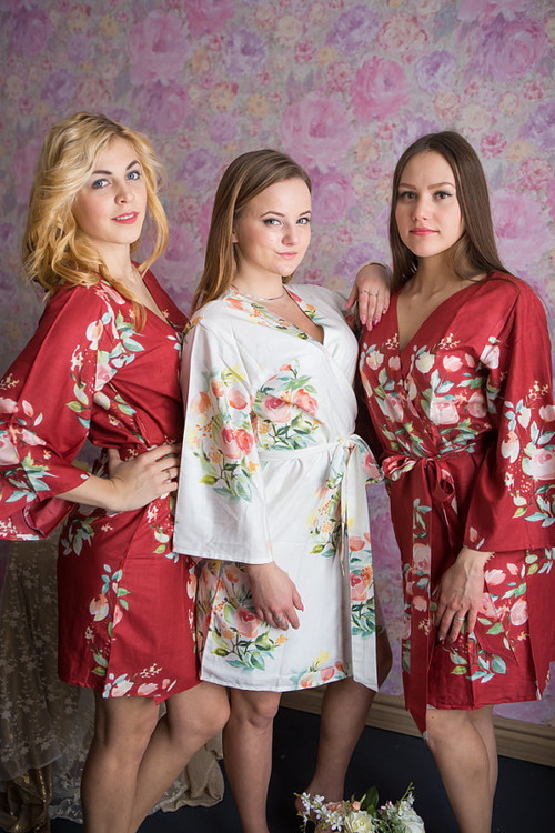 Dreamy Angel Song Pattern- Premium Marsala  Bridesmaids Robes