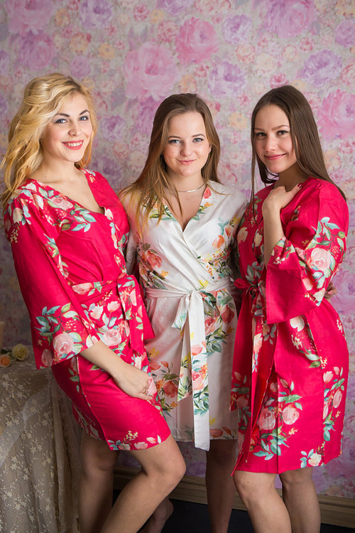 Dreamy Angel Song Pattern- Premium Strawberry Pink Bridesmaids Robes