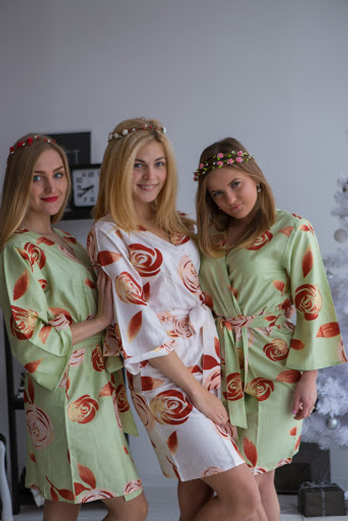 A rumor among Fairies Pattern- Premium Sage Bridesmaids Robes