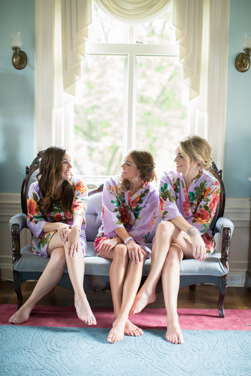 Lilac Large Floral Blossom Robes for bridesmaids | Getting Ready Bridal Robes
