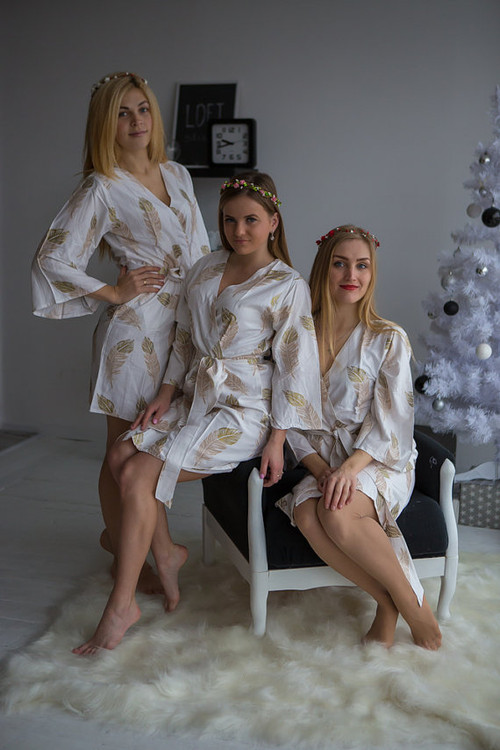 A feather rhyme Pattern- Premium Champagne Gold Bridesmaids Robes