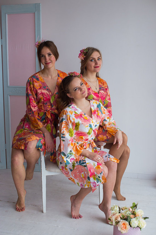 Her Petal Garden Pattern- Premium Dusty Rose Bridesmaids Robes