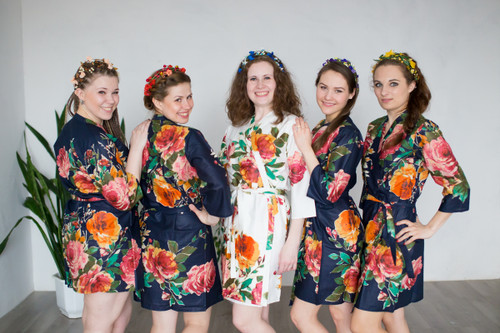 Navy Blue Large Floral Blossom Robes for bridesmaids | Getting Ready Bridal Robes