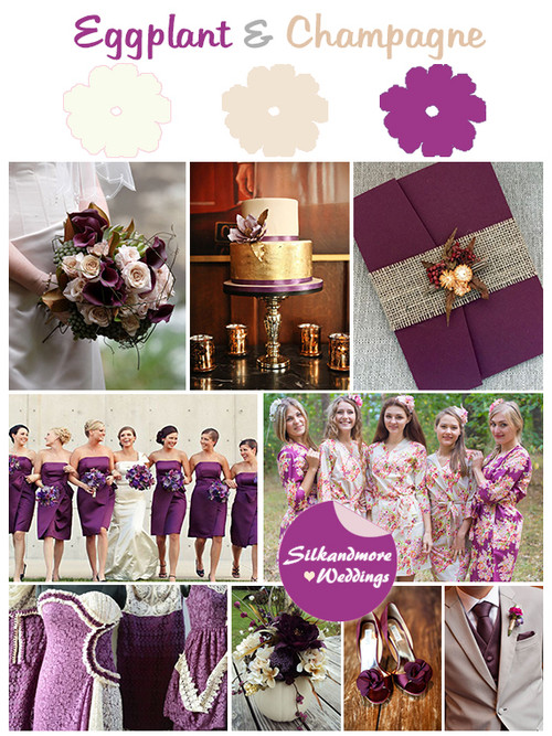 Eggplant and Champagne Wedding Color Robes