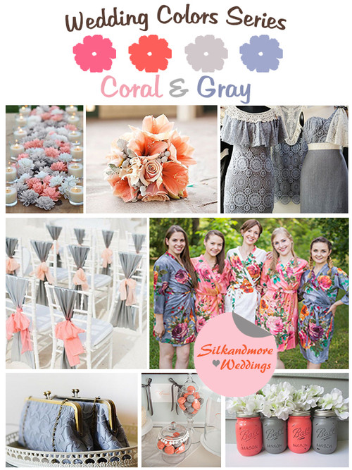 Coral and Gray Wedding Color Robes