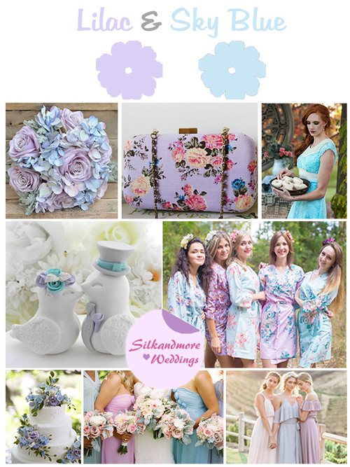 Lilac and Sky Blue Wedding Color Robes