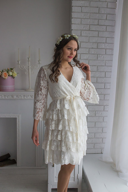 Bridal Robe from my Paris Inspirations Collection - Lacey Frill Robe in White